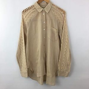 Holding Horses Anthropologie Large Top Tan Blouse